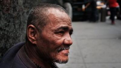 Un indigente en Manhattan.
