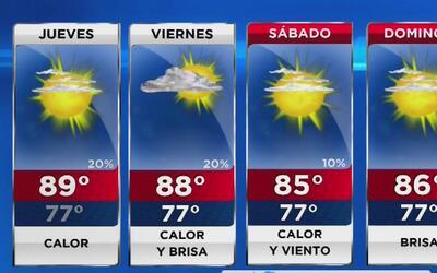 Jueves muy cálido y de cielo mayormente despejado en Miami