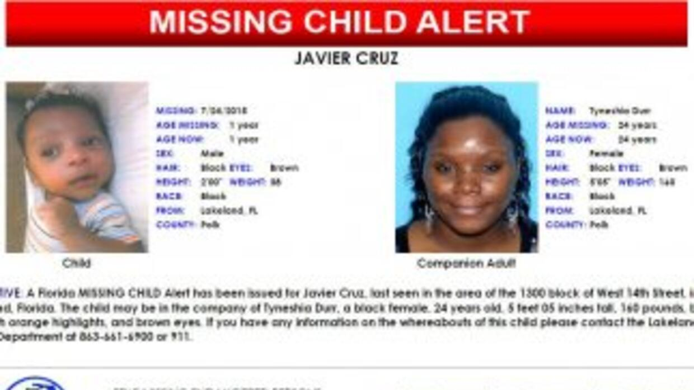 Javier Cruz, de un año, sigue desaparecido.