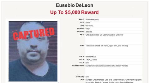 El perfil de Eusebio Deleon entre los 10 fugitivos más buscados de Texas.