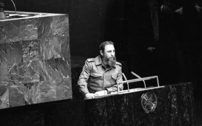 Castro speaks at the UN on October 12, 1979.