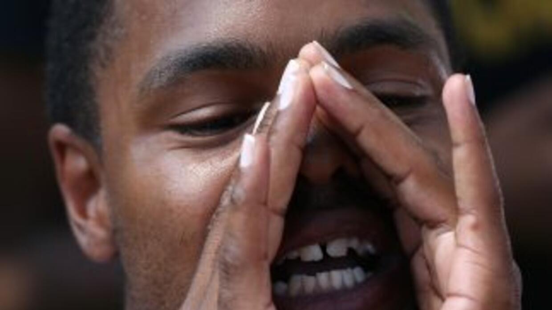 Activista del Black Lives Movement durante el discurso de lanzamiento de...