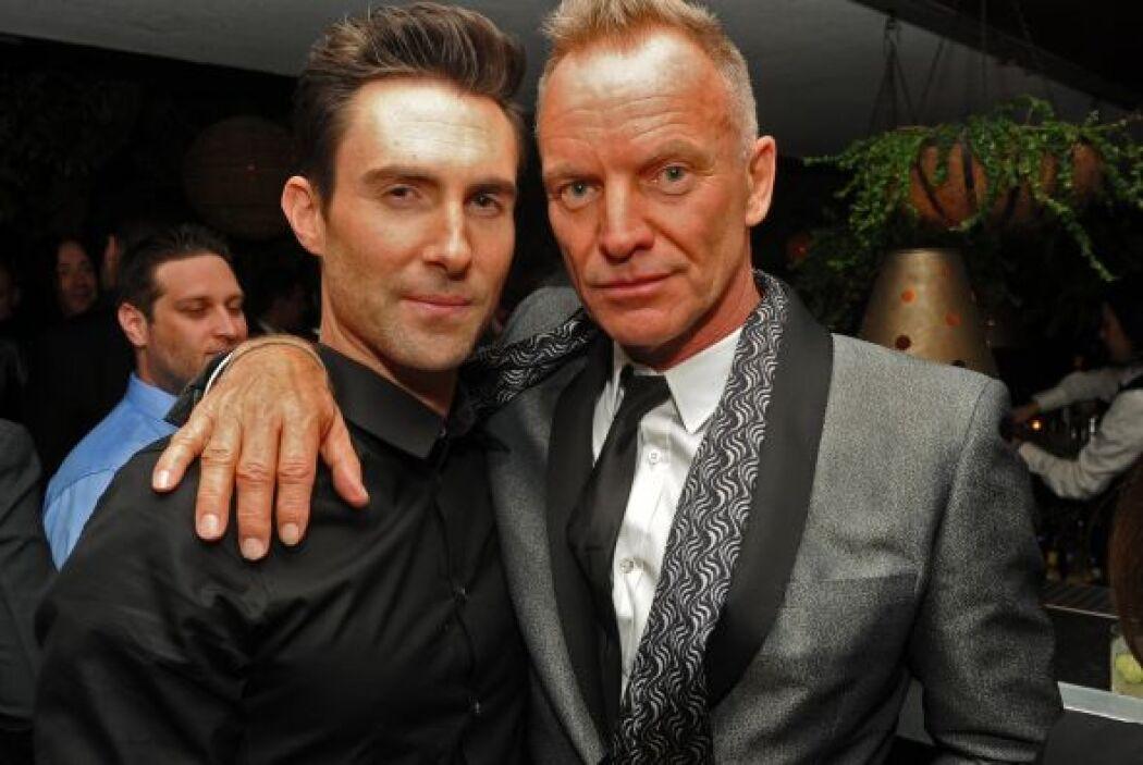 Ahora sí ya llegamos a la parte guapa del GRAMMY. Adam Levine con Sting,...