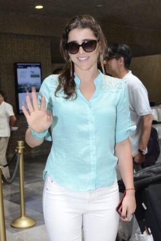 Una de las primeras en llegar al hotel en Acapulco fue Cassandra Sánchez...