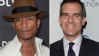 Pharrell William y Eric Garcetti unidos por las aceras de Los Ángeles.