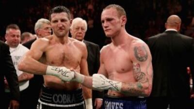 Carl Froch y George Groves se saludan al final de la pelea.