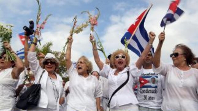 Activistas del exilio cubano durante una manifestación en Miami, Florida.