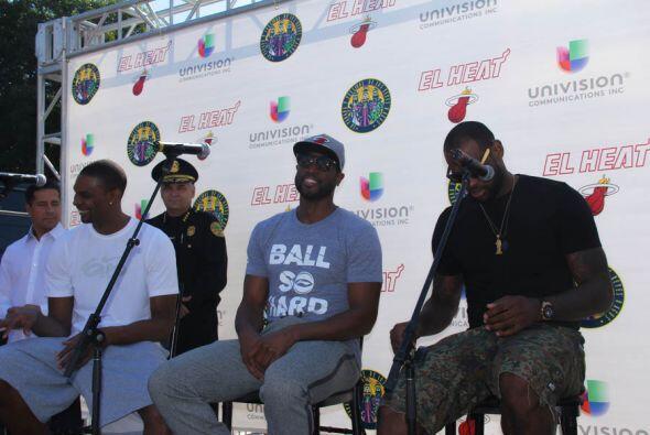 """Los """"Big 3"""" del Miami Heat, Dwyane Wade, Lebron James, y Chris Bosh fuer..."""