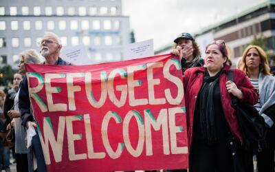 Imagen de una marcha a favor de los refugiados que se celebró en...