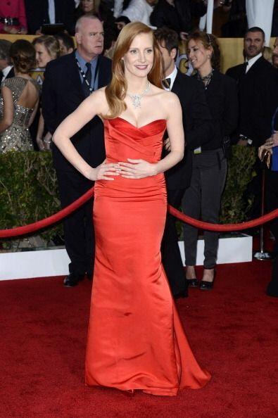 Jessica Chastain decidió ir con un vestido que esta vez, s&iacute...