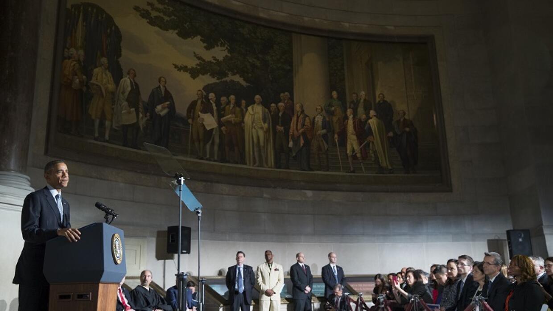 Barack Obama, durante la ceremonia de naturalización de inmigrantes.