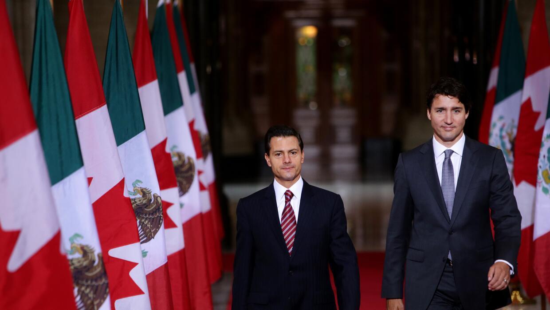 Peña Nieto, junto al primer ministro canadiense, Justin Trudeau.