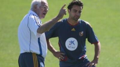 Luis Aragonés y Xavi.