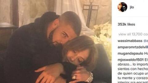 Drake abrazando a Jennifer Lopez en la foto compartida por la cantante e...