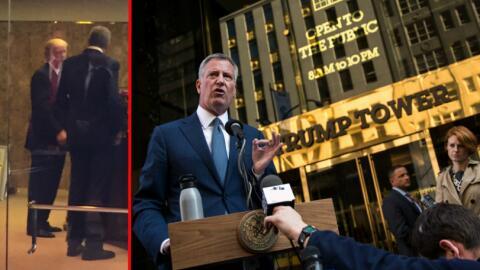 A la izquierda, la única imagen que hay del alcalde Bill de Blasi...