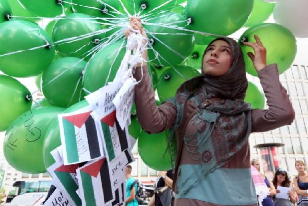 Con globos verdes pidieron paz en el territorio de Gaza.