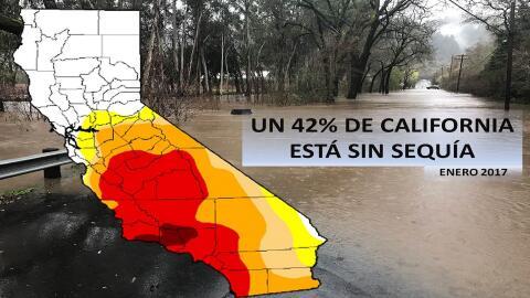 Mapa de  la sequía en California con fecha del 10 de enero de 201...