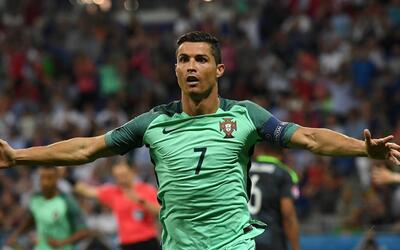 Ronaldo celebrates scoring Portugal's first of two goals against Wales