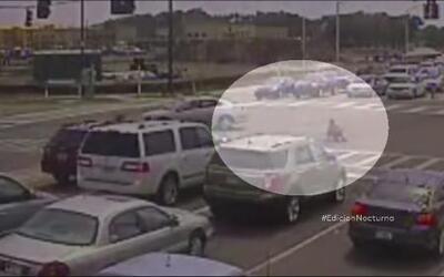 Motociclista salió ileso de espectacular choque