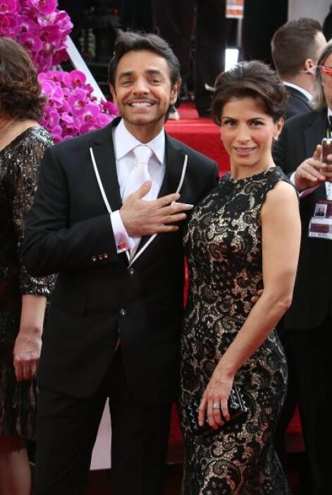 El comediante mexicano Eugenio Derbez y su esposa Alessandra Rosaldo aca...
