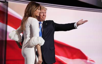 Melania Trump y Donald Trump en la Convención Nacional Republicana de Cl...
