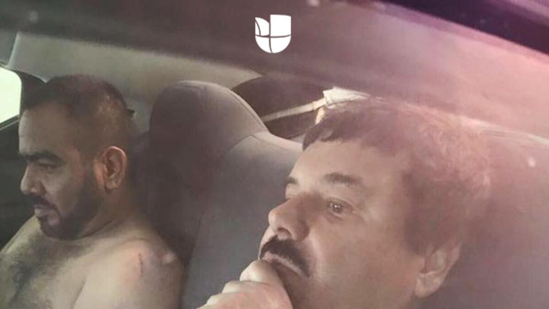 """""""El Chapo"""" y """"El Cholo Iván"""" en un auto, tras ser capturados"""