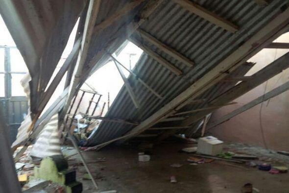 Fotografía de una vivienda afectada por un terremoto en Tapachula...