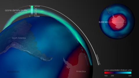 Esta imagen muestra el agujero en la capa de ozono durante el 2015, tras...