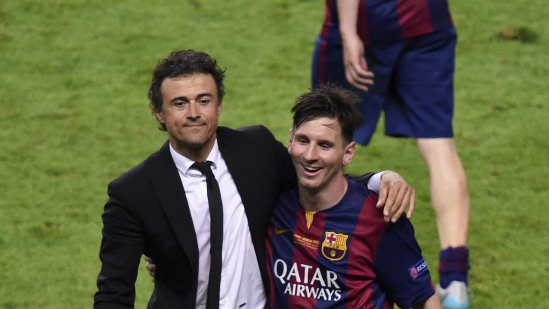 Luis Enrique celebró con Messi la obtención de la Champions