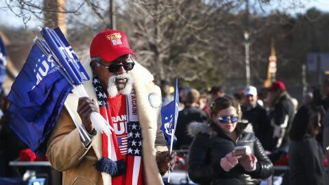Un seguidor de Donald Trump, abril 2, 2016, en Eau Claire, Wisconsin.