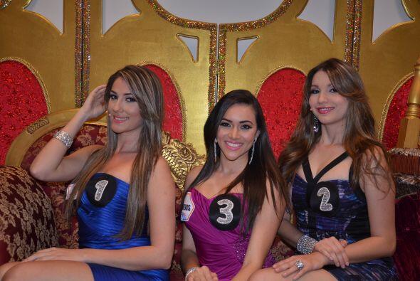 A un costado del escenario encontramos a las tres bellas participantes q...