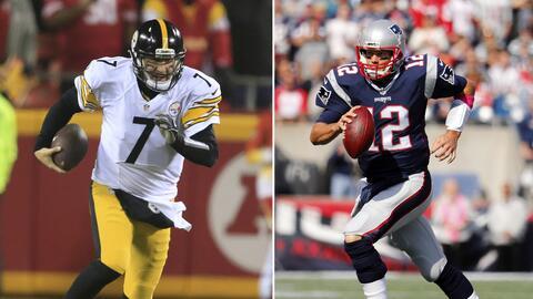 A la izquierda, el quarterback de los Steelers, Ben Roethlisberger, corr...
