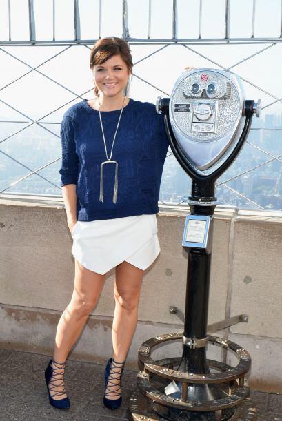 Aquí la vemos en el Empire State Building en una ceremonia de ilu...