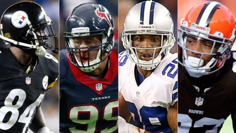 Antonio Brown, J.J Watt, DeMarco Murray y Joe Haden (AP-NFL).