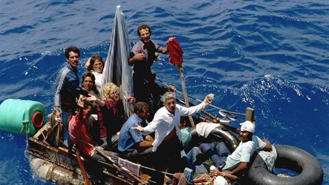 In an August 24, 1994 photo, Cuban refugees stranded on a makeshift raft...