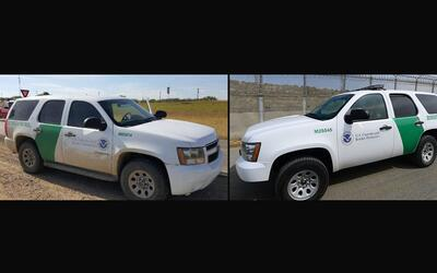 A la izquierda se observa una camioneta clonada de la Patrulla Fronteriz...