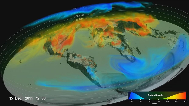 Así viaja el CO2 por el mundo en un año