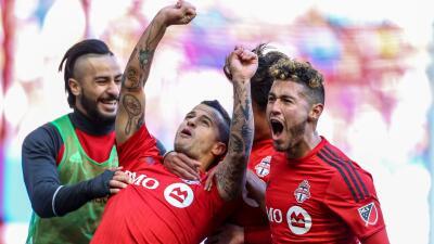 Sebastian Giovinco celebra gol ante NYRB
