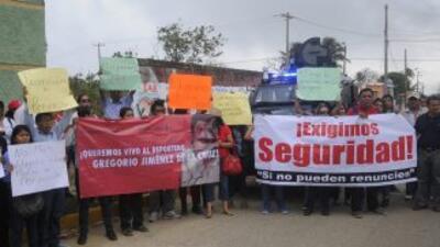 Periodistas protestan en Veracruz por el asesinato deGregorio Jiménez.