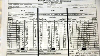 Este es el recuento oficial de las tarjetas de la pelea entre FLoyd Mayw...