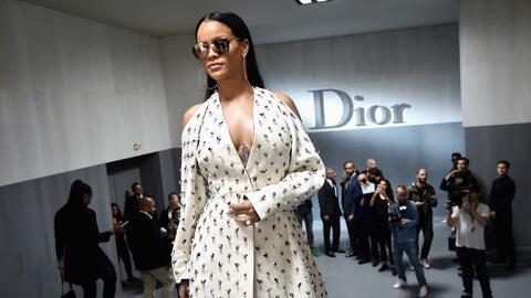 PARIS, FRANCE - SEPTEMBER 30: Rihanna attends the Christian Dior show as...