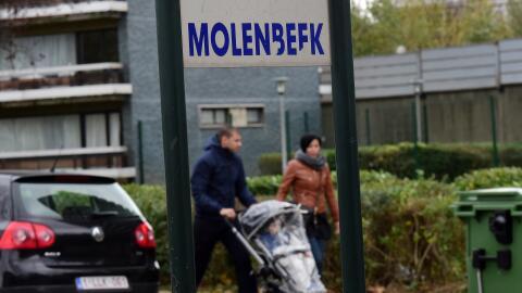 Cartel en el barrio de Molenbeek.