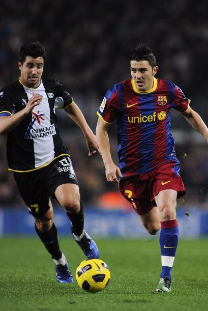 David Villa estuvo 'peleado' con el gol.