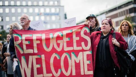 Imagen de una marcha a favor de los refugiados que se celebró en Estocol...