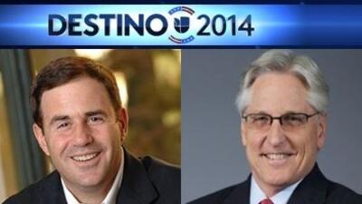 El candidato republicano Doug Ducey y demócrata Fred Duval.