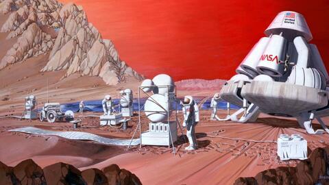 Un dibujo artístico de 1989 representa la colonización en...