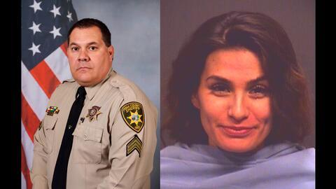 El sargento Mark Bustamante (izq) y Yesennia González, la mujer a...