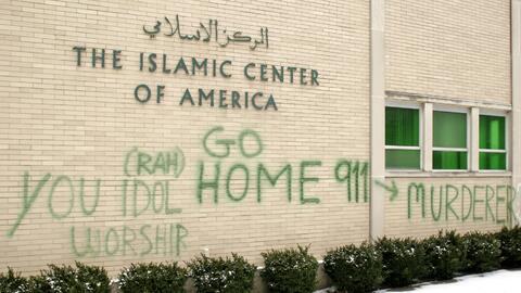 Una mezquita de Dearborn, Michigan vandalizada en enero pasado.