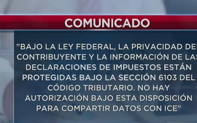 El IRS confirmó que ellos no comparten información personal