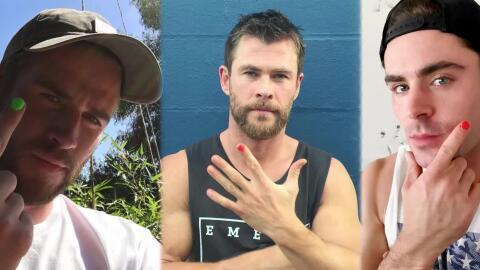 Zac Efron y los hermanos Hemsworth se pintan una uña por una buena causa